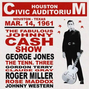 Claude Gray, Johnny Cash, George Jones, The Tennesssee Three, Roger Miller at Houston Civic Auditorium in TX in March 14, 1961