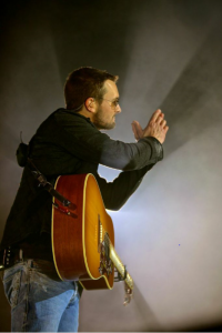 Eric Church commands the crowd at EnergySolutions Arena in Salt Lake City, Utah on January 31, 2015.  Photo Credit: Jill Trunnell