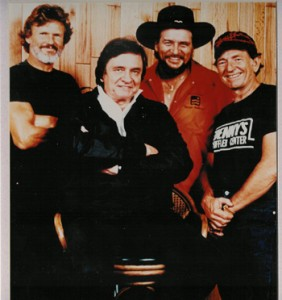 From left to right Kris Kristofferson, Johnny Cash, Waylon Jennings, Willie Nelson, who formed the country music supergroup, The Highwaymen