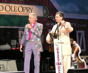 Porter Wagner with Larry Sparks at the Grand Ole Opry in Nashville, TN